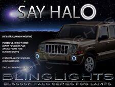 White Halo Angel Eye Fog Lamps Driving Lights Kit for 2006-2010 Jeep Commander