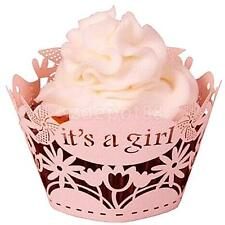 50 Pink It's a Girl Cupcake Wrappers Wraps Case Baby Shower Party Decoration