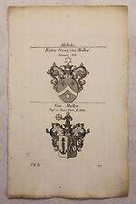 Gravure sur cuivre Armoiries Famille Chevalier Georg de Müller 1825 Héraldique