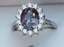 💍 Alexandrite Halo Multi COLOR CHANGE RING Princess Diana Style .925 Silver Sz8