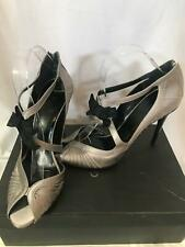 Gucci BY Tom Ford era silver satin sandals with bows coset style 8 1/2 8.5 b