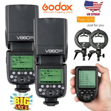 US 2*Godox V860II-N TTL HSS Wireless Flash +Xpro-N For Nikon+Free Bowens Bracket