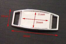 30 X Blank Silver Rectangle Shoelace Paracord Charm 16x11 mm Clear Epoxy Sticker