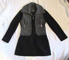 Guess Brand Ladies modern zip Style wool Blend Pea Coat Black sz M