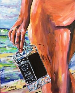 Whiskey Beach Babe Original Art PAINTING DAN BYL Contemporary Modern 19x24 Inch