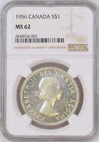 :1956 S1$ DOLLAR ELIZABETH-II CANADA KM#54 LOW-POP RARE NGC MS-62 HIGHEST-GRADES