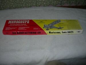 Vintage Sig Monocoupe Wood Model Kit FF-25 Airplane Aircraft NOS