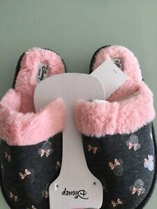 Ladies DISNEY Primark Pink black glitter Minnie Mouse slippers 3 4 5 6 7 & 8