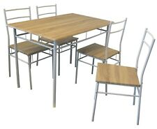 Dining Table Set 4 Chairs 5 Piece White Wood Wooden Breakfast Room Furniture