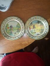 Vintage Daher Decorative Ware Tin Metal Plates 2 Made in Holland