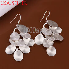 Precious Womens Round Chandlier 925 Sterling Silver Dangle Earrings Jewelry A895