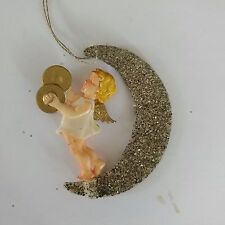 Vintage Angel Cherub Christmas Ornament German Celluloid Mica Moon Musical
