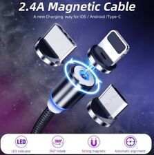 Micro USB Type C Cable Strong Magnetic Charge 360 Rotation Durable Adsorption