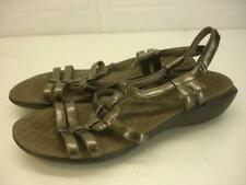 Womens 8 M Privo by Clarks Poise Sandals Metallic Pewter Leather Slingback Wedge