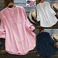 Women Casual Long Sleeve Tops Shirt Ladies Loose Button V Neck T-shirt Blouse US
