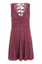 Topshop Petite Size 8 Lace Burgundy Wine Dress Floral R1081