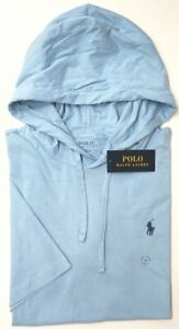 NEW Polo Ralph Lauren Light Blue Hoodie Short Sleeve Hooded Tee Mens NWT