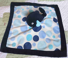 Carter's Dark Blue Plush Whale w Polka Dots Baby Boy Security Blanket EUC