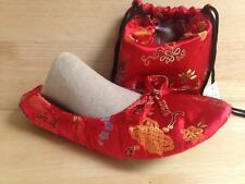 Ballet House Satin Slippers Red W/Matching Pouch US Size L6.5-L7.5 (Medium)