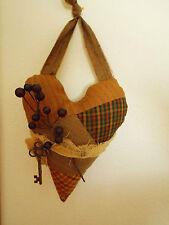 Homespun HC Primitive  Brown Heart Key Pillow Ornie Peg Hanger Door Greeter  #3