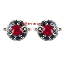 Natural Ruby & Sapphire Gemstones With 925 Sterling Silver Cufflinks for Men's