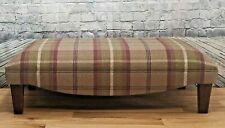 Extra Large Footstool Balmoral Heather Tartan Fabric with solid dark wooden legs
