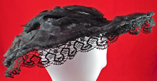 Vintage Edwardian Ruched Sheer Black Silk Chiffon Lace Trim Wired Wide Brim Hat