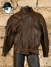 VINTAGE 80s 'CRYS PARKER' HEAVY FRENCH LEATHER JACKET - MEDIUM(80s) / LARGE  (Q)