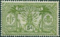 New Hebrides 1911 SG24 5d sage-green Weapons Idols MH