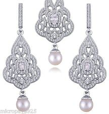 Shell Pearl Set Dangle Earrings Sterling Silver 925 With Pave Set Cubic Zirconia