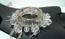 Silver Tone Fashion Lucite Clear Bracelet Chunky Chain Beaded Bangle