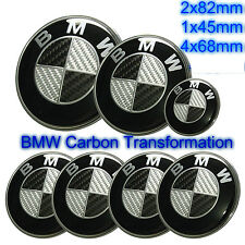 7pcs BMW Black Carbon Fibre Badge Emblem Set Wheel Centre 7x Caps e60 e61 e46
