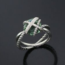 David Yurman 925 Sterling Silver Diamond Cable Wrap Prasiolite Ring Size 5.5