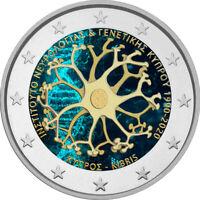 2 Euro Gedenkmünze Zypern 2020 coloriert Farbe Farbmünze Neurologisches Institut