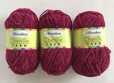 Herrschners Chenille Yarn Burgundy #0012  BURG Medium #4 lot of 3