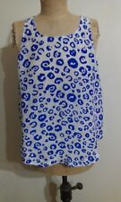 Life With Bird - Blue and White Animal Print Top - Size 4 or Size 14