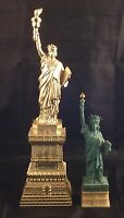 Vintage Collectible Lot Of 2 Lady Liberty Signed Statues Y.E.A. Hong Kong 1990's