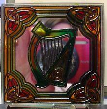 L'irlande clara vitraux miroir aimant de réfrigérateur harpe celtique design