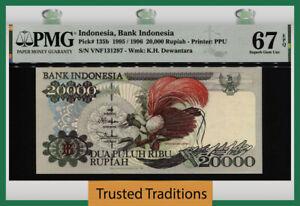 TT PK 135b 1995 INDONESIA BANK 20000 RUPIAH PMG 67 EPQ SUPERB GEM UNCIRCULATED!