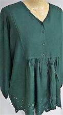GREEN scalloped hem V-neck Size 14 16 18 Tunic top Boho gypsy smock folksy large