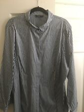 LAFAYETTE 148 NEW YORK Women's Navy White Stripe Shirt Blouse Top SIZE 22