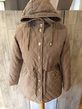 Jessica Graaf Beige Quilted Coat With Hood,zip Pockets Small