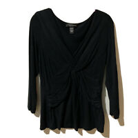 Cable & Gauge Crisscross Top Size Large Black 3/4 Sleeve Blouse Women's Stretch