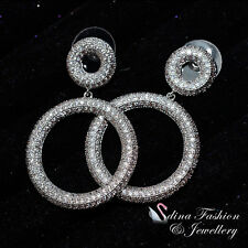18K White Gold Filled AAA Grade CZ Charming Fashion Double Circle Stud Earrings