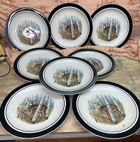 "8 Folk Craft Stoneware White Tail By Scottyz 10.5"" Dinner Plates"