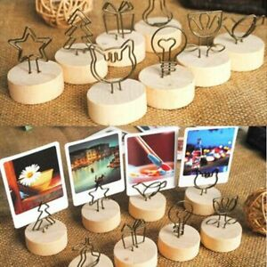 4cm Creative Round Wooden Iron Photo Clip Memo Name Card Pendant Pictures Holder