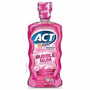 ACT Kids Anti-Cavity Fluoride Rinse Bubblegum Blowout Children's 16.9 Fl Oz