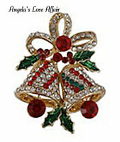 CHRISTMASY GOLD MULTI COLOURED CRYSTAL ENAMEL CHRISTMAS BELLS  BROOCH