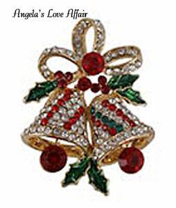 CHRISTMASY GOLD MULTI COLOURED CRYSTAL ENAMEL CHRISTMAS BELLS  BROOCH