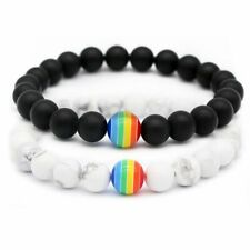 NEW Women Men Rainbow Natural Stone Beaded Bracelet Pride LGBT GAY Couple Gifts